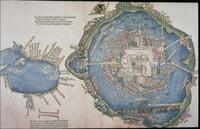 Map of Tenochtitlan and the Gulf of Mexico from Cortés' Second Letter