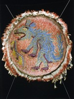 Feathered Shield with Coyote, front view