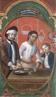 """Casta Painting: """"De Español y Mulata, Morisco"""""""